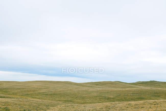 Живописный вид на травянистые холмы под облачным небом — стоковое фото