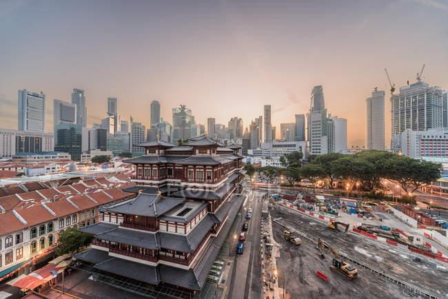Мальовничий вид на величні обрис Сінгапуру — стокове фото