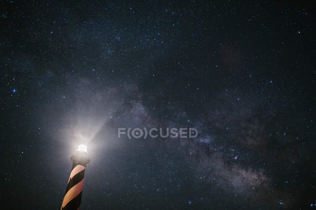 Stati Uniti, North Carolina, Cape Hatteras Lighthouse under The Milky Way — Foto stock