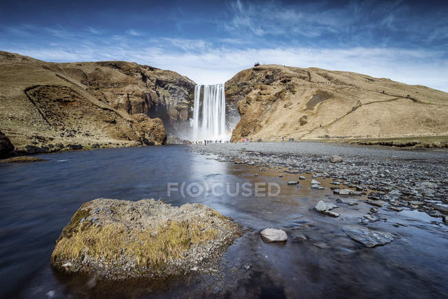 Scenic view of famous skogafoss waterfall, Iceland — Stock Photo