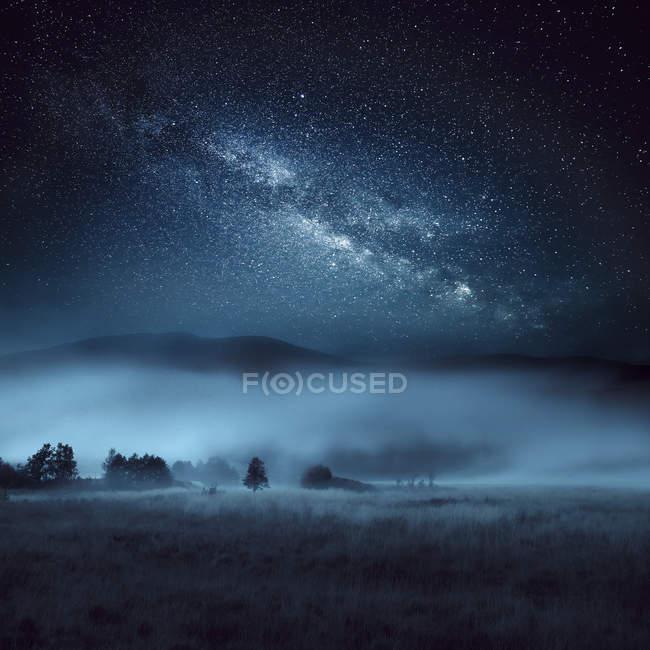 Astrofotografie, Blick auf die Milchstraße in Schottland — Stockfoto