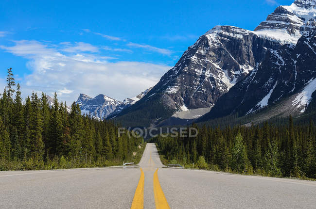 Vista panorámica de la carretera vacía, el Parque Nacional Jasper, Alberta, Canadá - foto de stock
