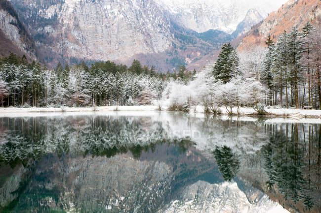 Живописный вид на горное озеро зимой около Зальцбург, Австрия — стоковое фото