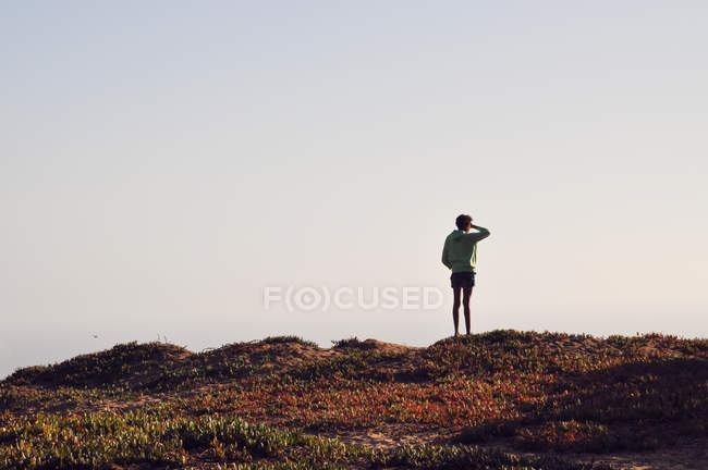 Rear view of girl standing on hill and looking at view — Stock Photo