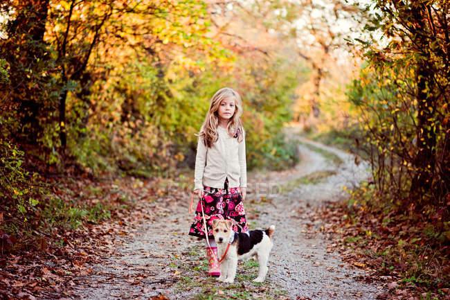 Girl walking fox terrier dog in the woods — Stock Photo