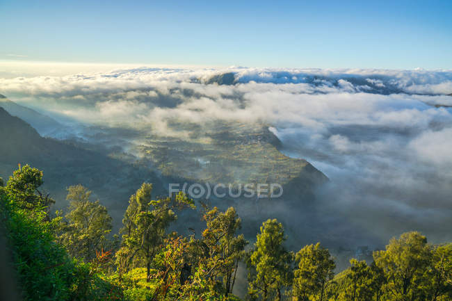 Beautiful Cemero Lawang covered by clouds, Mount Bromo, Pasuruan, East Java, Indonesia — Stock Photo