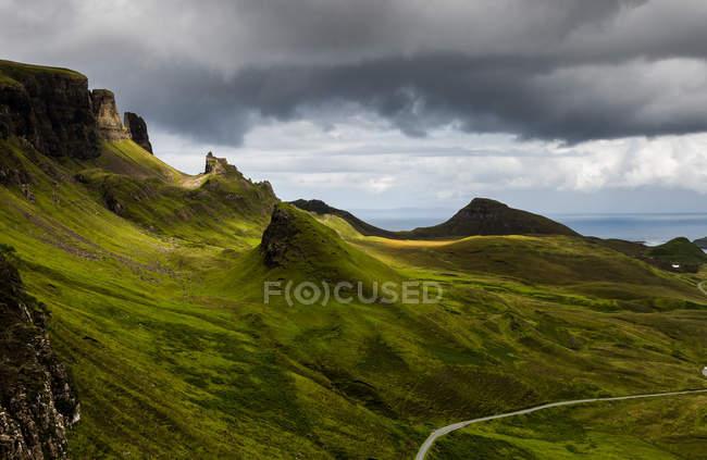 Sceic Blick auf quakende Erdrutsch, trotternish, Insel Skye, Schottland, Großbritannien — Stockfoto