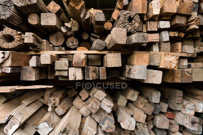 Close-up view of used timber for recycling — Stock Photo