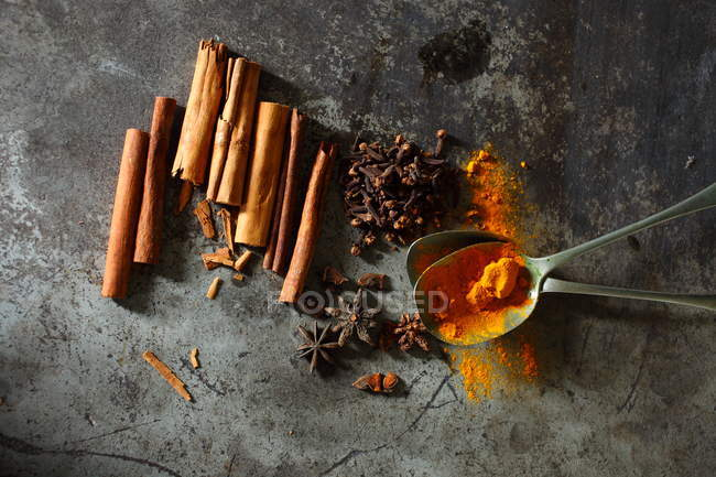 Top View Of Star Anise Cinnamon Cloves And Turmeric Spices