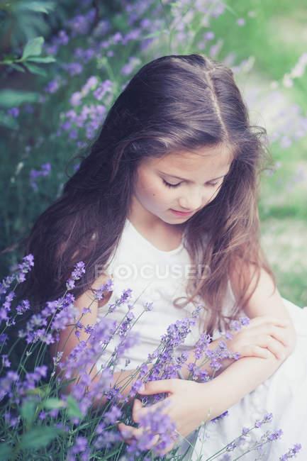 Девушка с длинными волосами, сидя в сиреневом поле. — стоковое фото