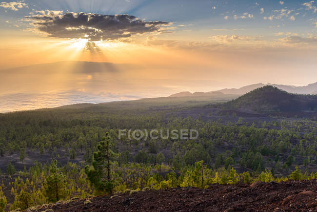 Fascinating view of volcanic landscape at sunset, Tenerife, Canary Islands, Spain — Stock Photo