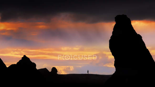 Romantic sky and person at distant view, Cappadocia, Turkey — Stock Photo