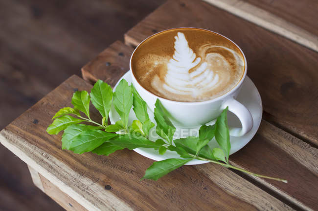 Closeup view of cup cappuccino on the table — Stock Photo