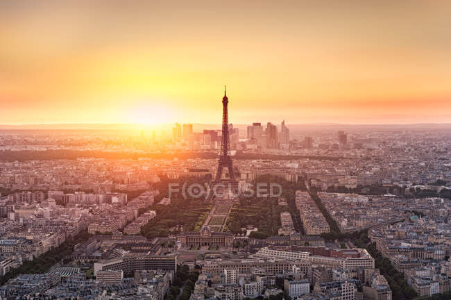 View of city from Montparnasse tower, Paris, France — Stock Photo