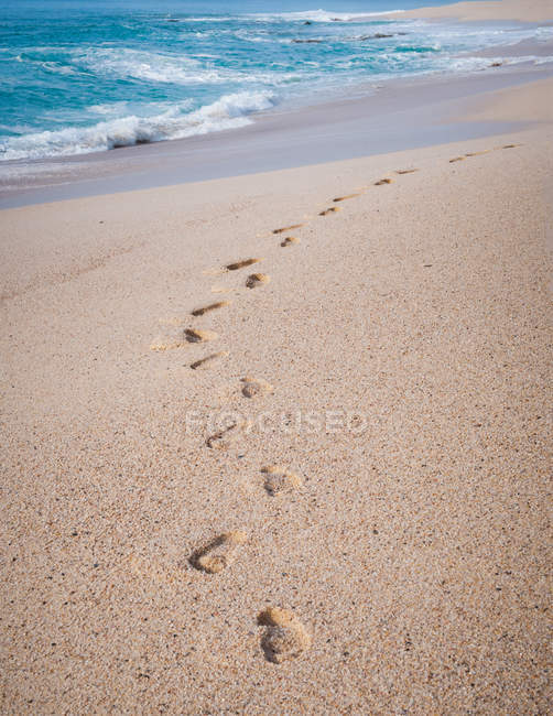 Scenic view of footprints in the sand on beach — Stock Photo