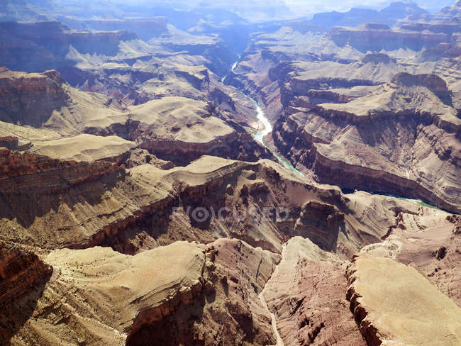Elevated view with river in valley, Grand Canyon, Arizona, USA — Stock Photo