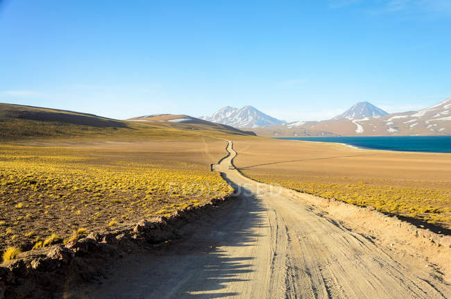 Chili, Altiplano, vue panoramique le long du chemin de terre dans le désert avec des montagnes à l'arrière-plan — Photo de stock