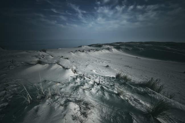Vista panorámica de las dunas de arena en la playa, Nida, Lituania - foto de stock