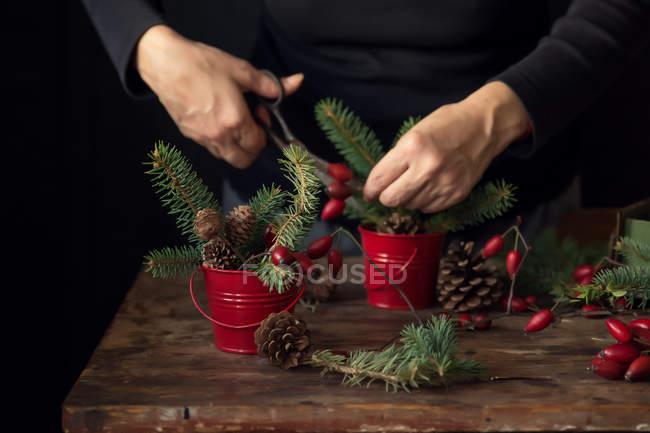 Cropped image of Making Christmas decoration — Stock Photo