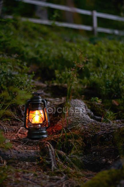 Scenic view of illuminated oil lamp in field — Stock Photo