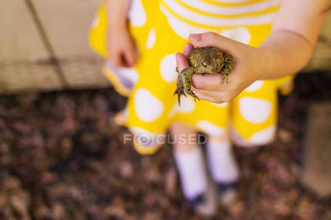 Маленькая девочка в жёлтом платье с лягушкой в руке — стоковое фото