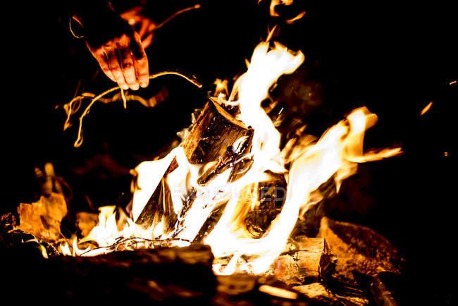 Nahaufnahme der Hände Lagerfeuer Zweige aufsetzen — Stockfoto