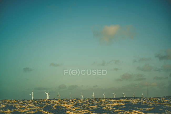 Scenic view of wind turbines in the desert, Paracuru, Brazil — Stock Photo