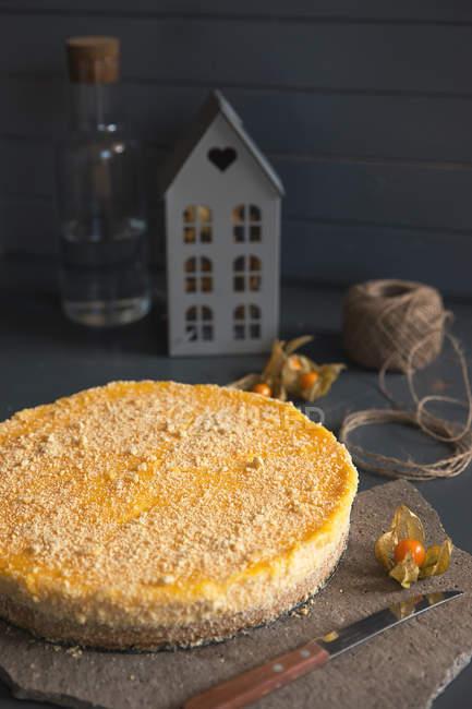 Cheesecake al limone con piatti freschi fatti in casa e coltello sul tavolo — Foto stock