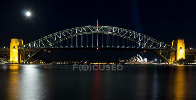 Sydney Harbor bridge at night, Sydney, New South Wales, Australia — Stock Photo