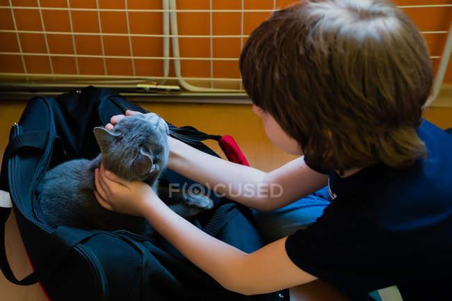 Garçon caressant mignon chat gris assis dans un sac — Photo de stock