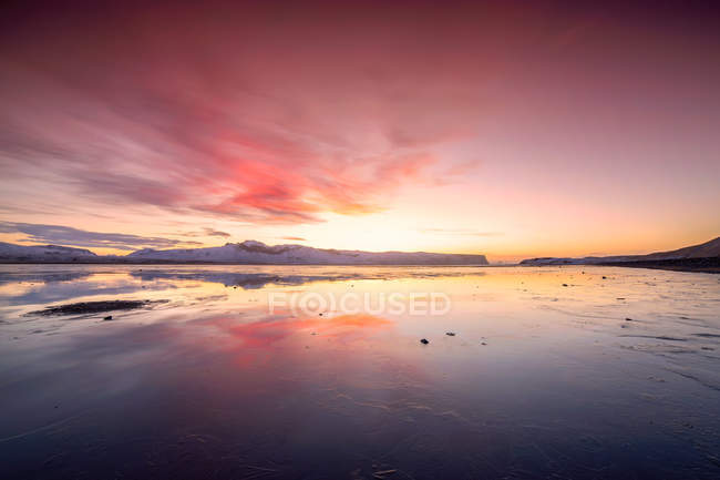 Scenic view of sunrise over landscape, Iceland — Stock Photo