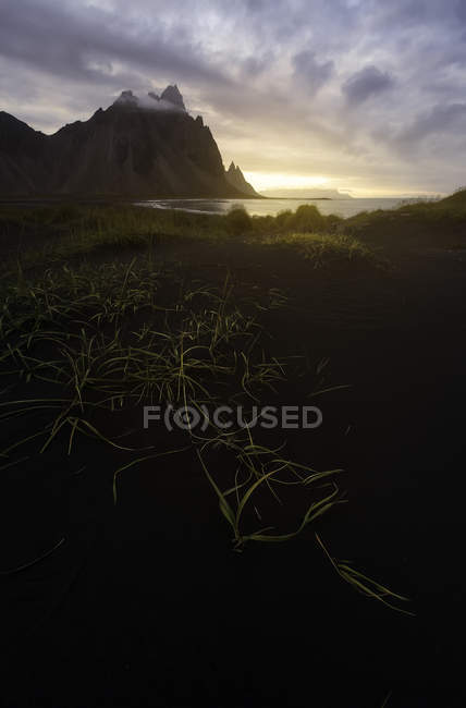 Iceland, scenic view of dramatic landscape at dusk — Stock Photo