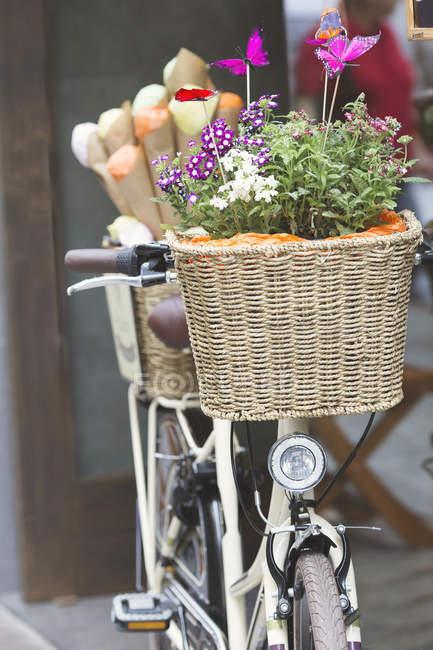 Велосипед с корзиной цветов — стоковое фото