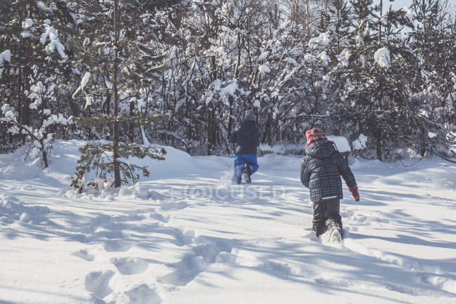 Rear view of two boys running in winter snow — Stock Photo