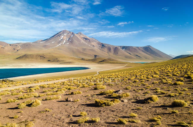 Scenic view of Altiplano lagoon, volcano and Andean peaks, Chile — Stock Photo
