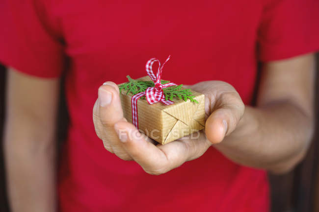 Close-up of male hand holding christmas gift in hand — Stock Photo