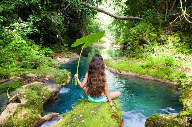 Вид сзади девушка сидит на берегу реки и проведение большого листа, Ямайка — стоковое фото