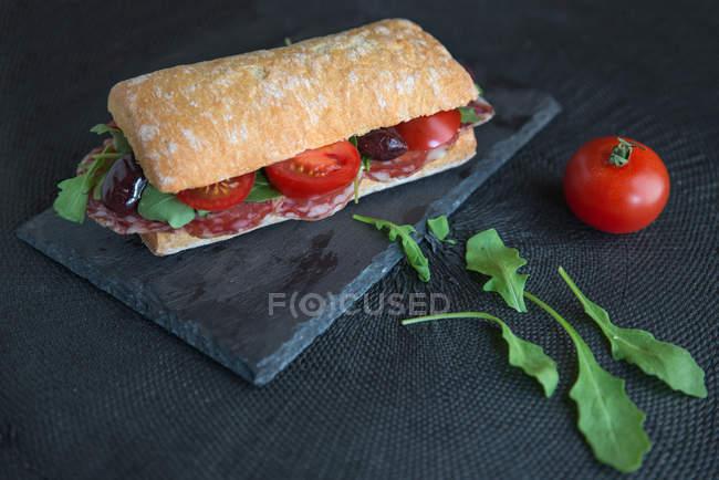 Sandwich mit Salami, Tomaten, Oliven und Rucola auf Schiefer — Stockfoto