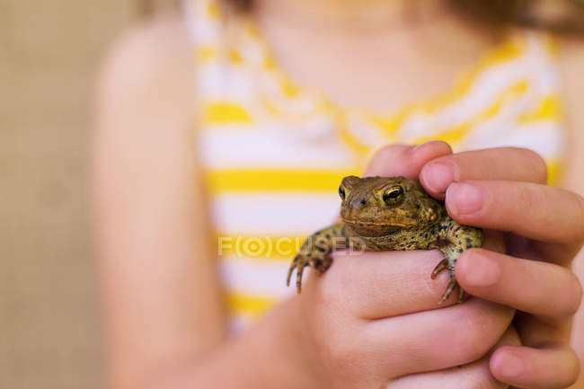 Little girl in yellow dress holding frog in hands — Stock Photo