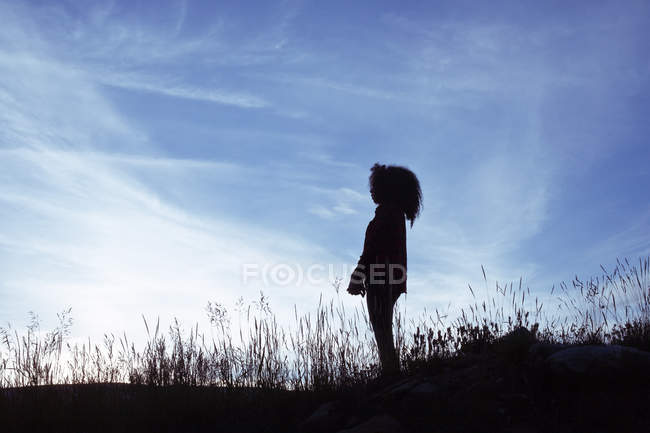 Silhouette of woman standing in rural scene — Stock Photo