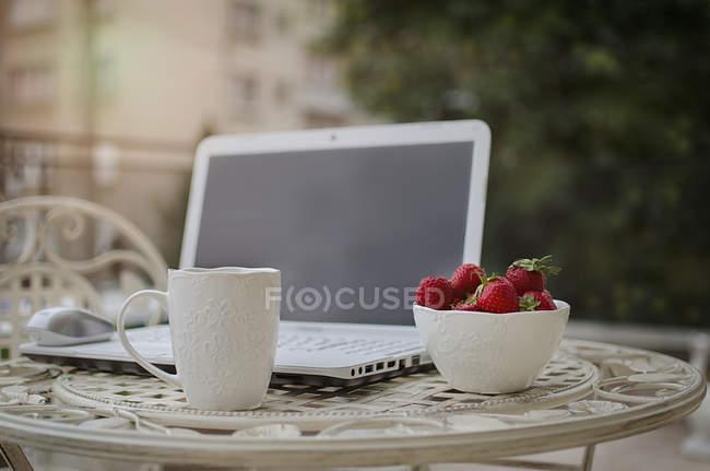 Laptop, Erdbeeren und Tee auf dem Gartentisch — Stockfoto