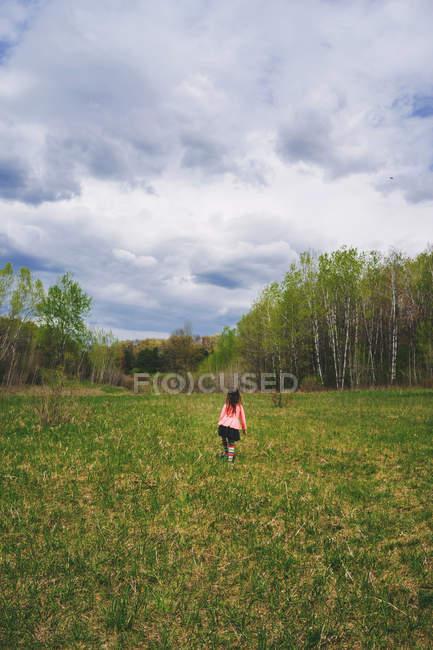 Lonely little girl walking in meadow — Stock Photo