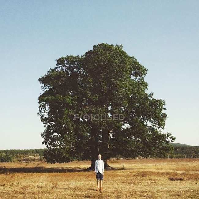 Retrato de un hombre de pie frente a un árbol - foto de stock