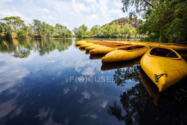 Kayaks in a row at Nitmiluk gorge, Northern Territory, Australia — Stock Photo