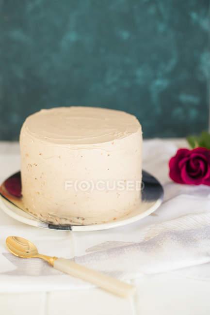 Крупным планом вид вкусные Фундук торт в красочные пластины — стоковое фото
