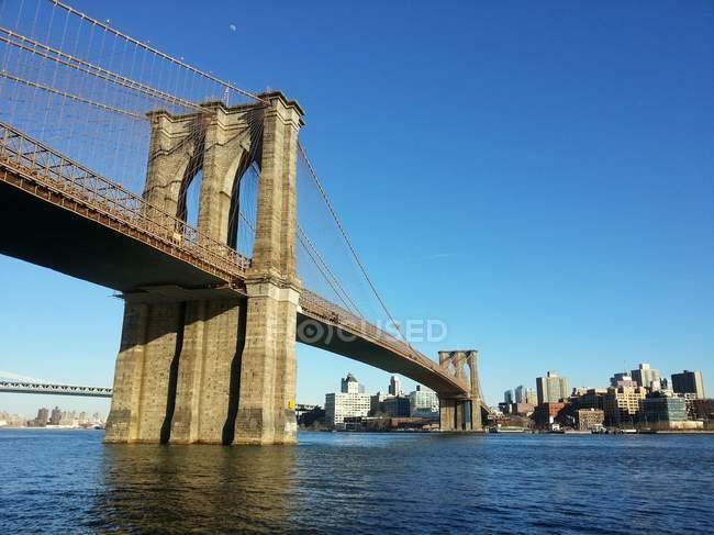 Vista panorâmica da cidade de ponte de Brooklyn, Nova Iorque, EUA — Fotografia de Stock