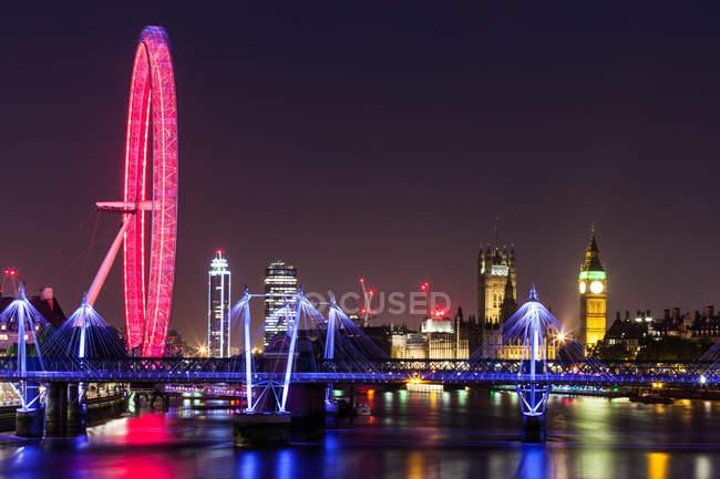 Vista panorâmica à noite, Londres, Inglaterra, Reino Unido — Fotografia de Stock