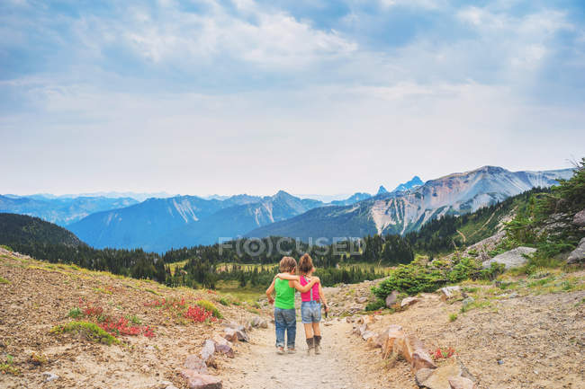 Rear view of brother and sister walking together in majestic mountains — Stock Photo