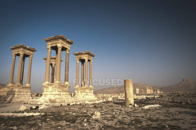 Scenic view of Tetrapylon in the ruins of Palmyra, Syria — Stock Photo