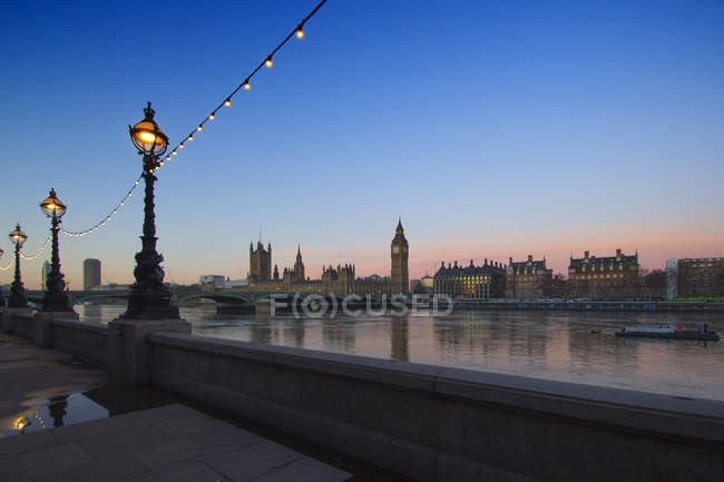 Scenic view of Westminster at dawn, London, England, UK — Stock Photo